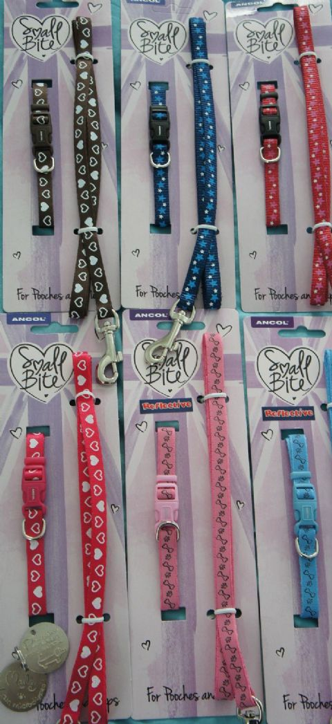 SMALL DOG AND PUPPY COLLAR & LEAD SETS ANCOL SPARE SPLIT RINGS &ENGRAVED ID TAG